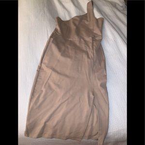 Camel one shoulder leg slit dress